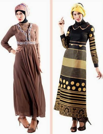 Desain baju muslim gamis brokat dengan warna menarik