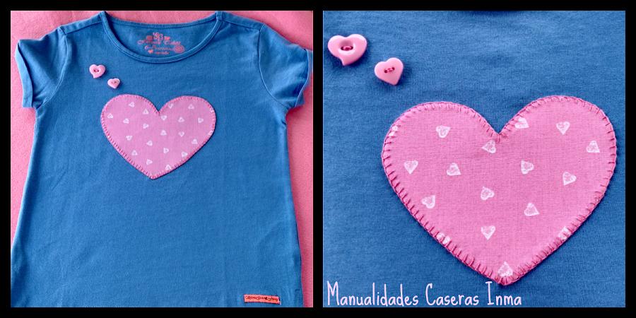 Manualidades Caseras Fáciles Inma Camiseta de corazón rosa para niña