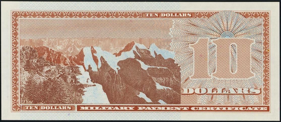 10 Dollars Military Payment Certificate, MPC Series 701 Mount Rainier National Park