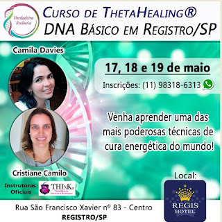 Curso ThetaHealing DNA Básico nos dias 17,18 e 19 maio em Registro-SP
