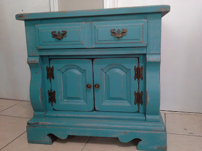 peacock blue turquoise teal cabinet nightstand