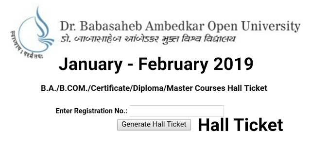 BAOU Hall Ticket / Admit Card 2019 (January - February)@ www.baou.edu.in