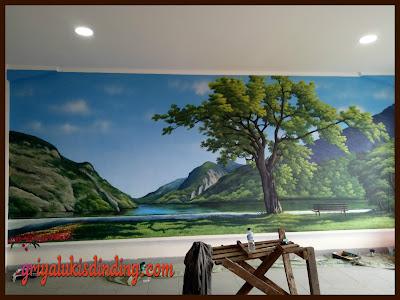 Hasil akhir mural lukis dinding pemandangan