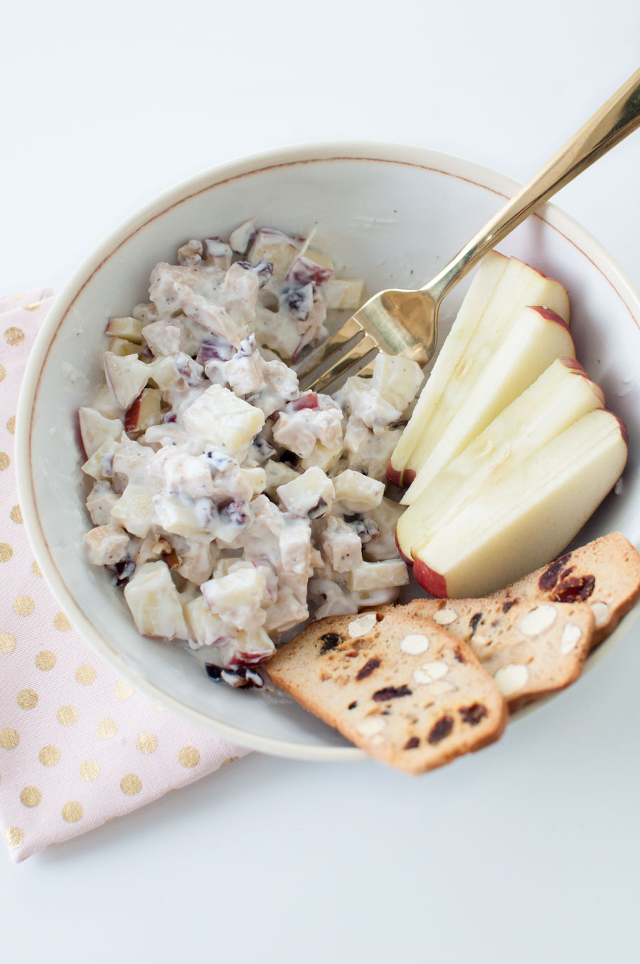 Cranberry Apple Pecan Chicken Salad with Apples in a Bowl