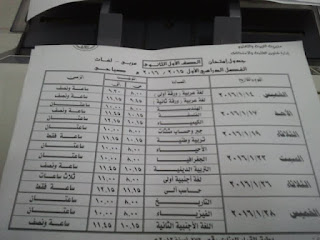 جدول الشهادة الاعدادية في القليوبية ترم اول بتاريخ 18 ديسمبر 2015 المنهاج المصري 10.jpg