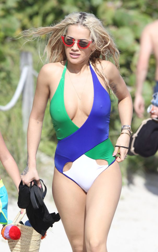 Rita Ora Wears a Down-To-There One-Piece on Miami Beach ...