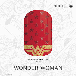 Adorned with the symbolic Wonder Woman logo, 'Amazing Amazon' is the ultimate way to showcase your favorite Super Hero, Wonder Woman.  #AmazingAmazonJN  DC Comics. (s17) Noel Giger Jamberry Nails