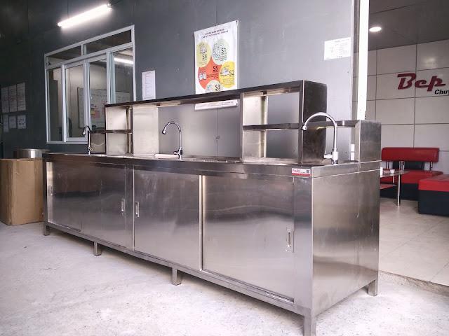 Quầy pha chế inox 3 chậu rửa bàn giá kệ và khoang trữ nước đá
