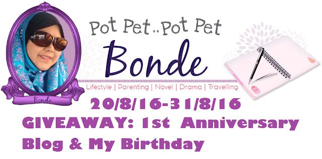 GIVEAWAY : 1st Anniversary Blog & My Birthday, bonde zaidalifah