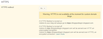 HTTPS is not available at the moment for custom domain blogs in normal Blogger Dashboard