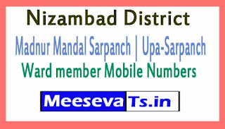 Madnur Mandal Sarpanch | Upa-Sarpanch | Ward member Mobile Numbers List Nizambad District in Telangana State
