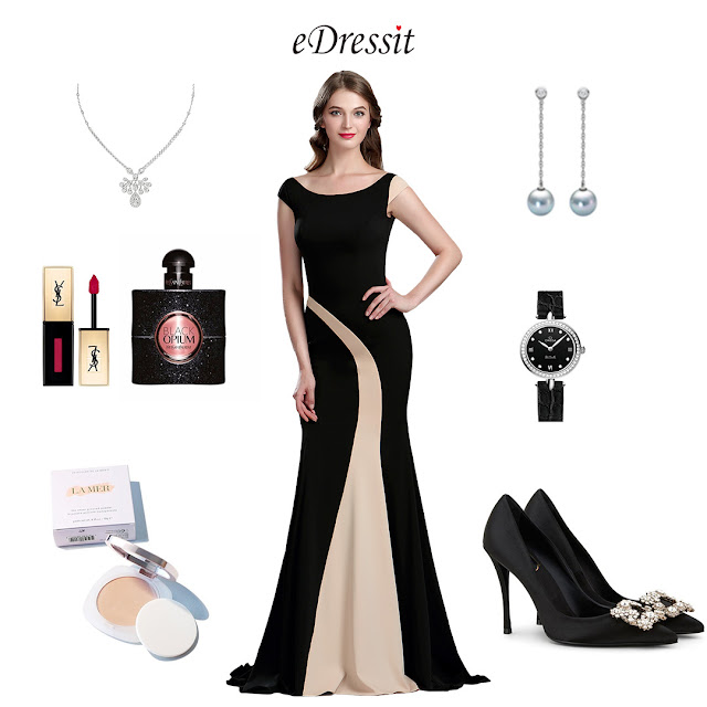 Elegant Black and Champagne Mermaid Occasion Dress