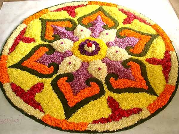 Rangoli Designs with Flowers, Rangoli design phos, free hand rangoli design with flowers, flower rangoli designs with dots