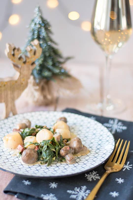 recette Saint Jacques champignons lard et truffe