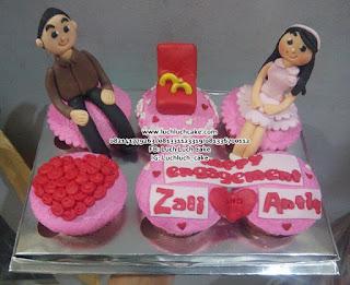 Cupcake Engagement Cantik Untuk Hantaran