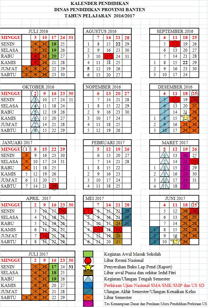 Kalender Pendidikan Provinsi Banten Tp 2016 2017 Dan Edaran Tentang Ppdb Provinsi Banten Tahun