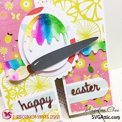 SVG Attic: Happy Easter Card with Angeline #svgattic #scrappyscrappy #happyeaster #easter #card #cardmaking #papercraft #bifoldcard #watercolor