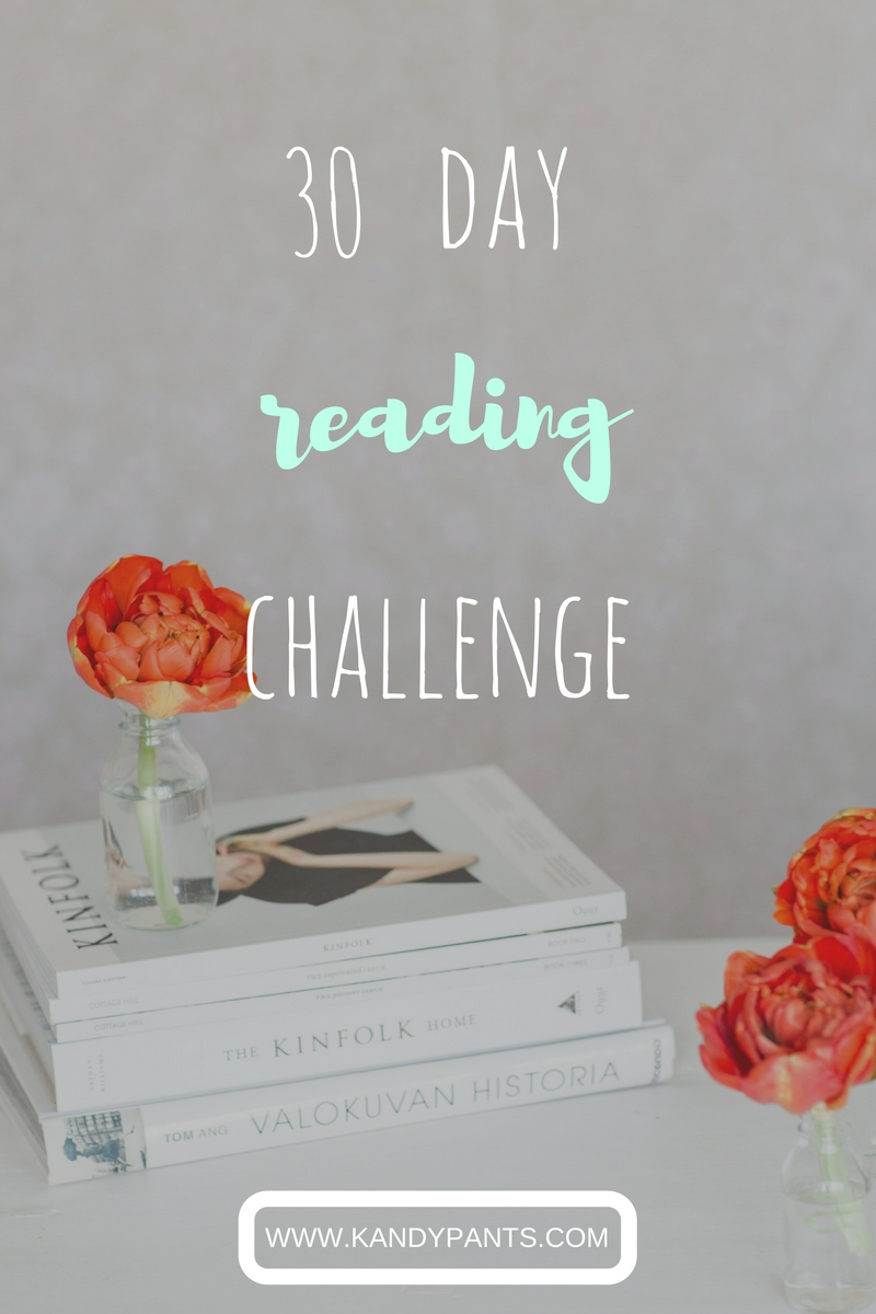 It's time for another 30 day challenge. For the next 30 days I'm going to read every day. Want to take part with me? Use #KP30DayChallenge and show me what you're reading!
