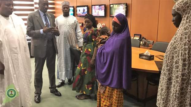 Photos: Governor Shettima hands over rescued Chibok girl, Salomi Pogu, others to National Security Adviser, Babagana Monguno