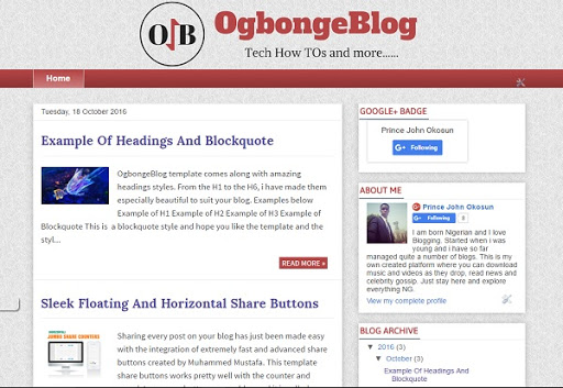 OgbongeBlog Premium 100% SEO Advanced Blogger Template