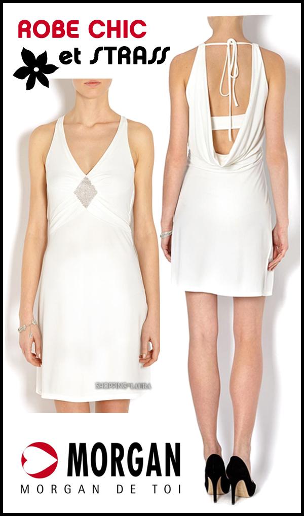 Robe blanche dos-nu et empiècement strass MORGAN