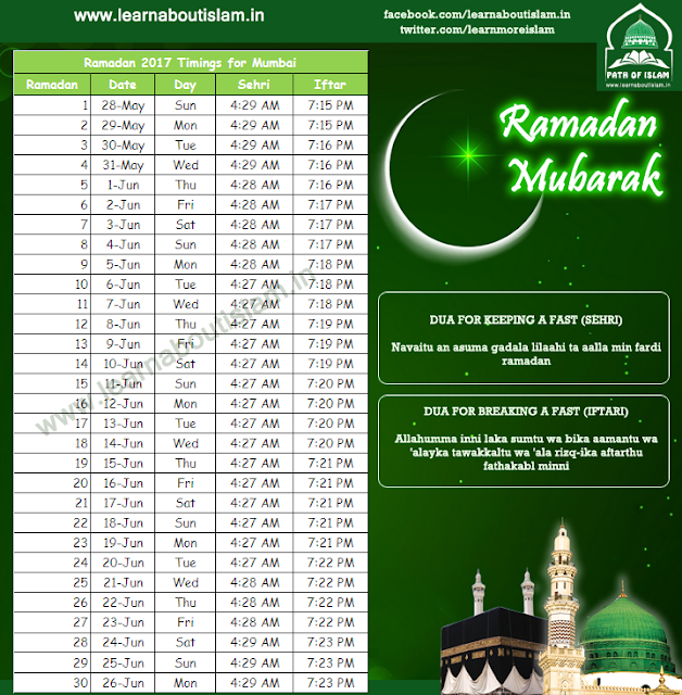 Ramadan Timings 2017 Sehri and Iftar Timings for Mumbai