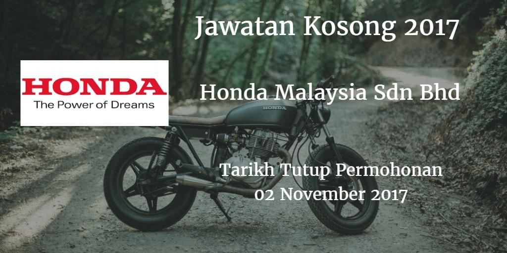 Jawatan Kosong Honda Malaysia Sdn Bhd 02 November 2017
