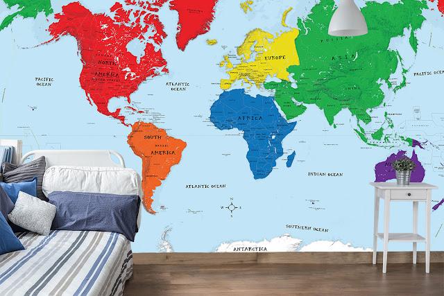 Världskarta tapet barn pojkrum