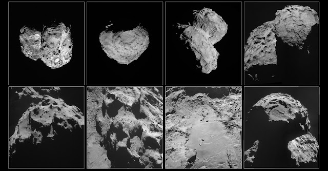 These images of comet 67P/Churyumov-Gerasimenko were taken by Rosetta's navigation camera between August and November 2014.  Top row, left to right: Comet pictured on 6 August 2014, at a distance of 96 km; 14 August, at a distance of 100 km; 22 August, at a distance of 64 km; 14 September, at a distance of 30 km.  Bottom row, left to right: Comet pictured on 24 September, at a distance of 28 km; 24 October, at a distance of 10 km; 26 October, at a distance of 8 km; 6 November, at a distance of 30 km. Credit: ESA/Rosetta/NavCam