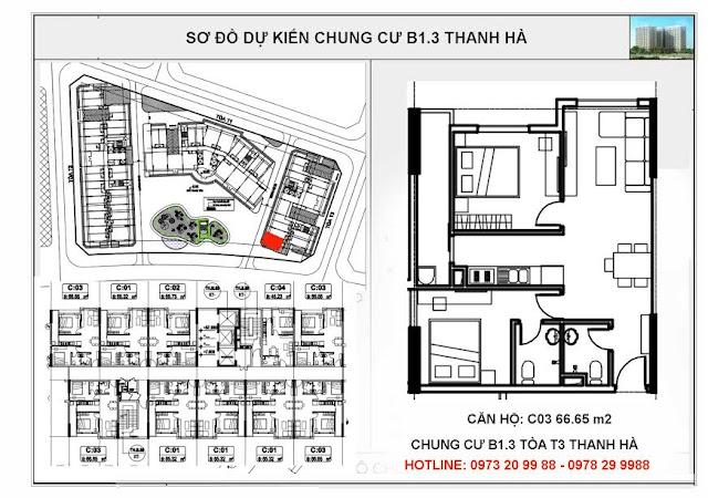 Sơ đồ mặt bằng chi tiết căn hộ C03 tòa T3 chung cư B1.3 Thanh Hà