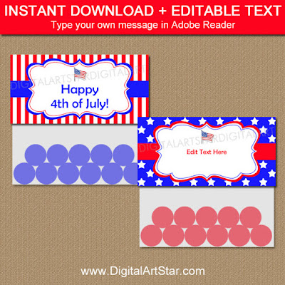 printable 4th of july treat bag toppers - red white and blue with stars and stripes