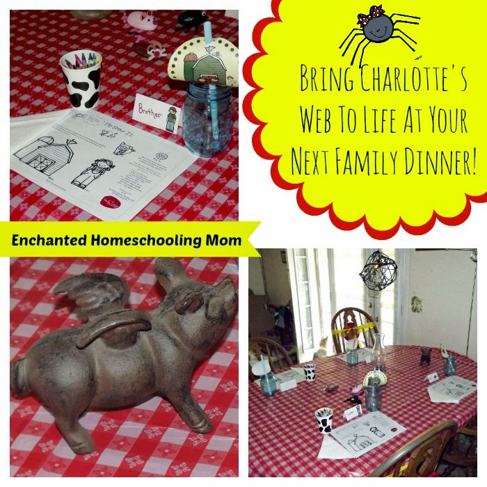 http://enchantedhomeschoolingmom.org/2014/03/charlottes-web-storybook-decorations-family-dinner-table/