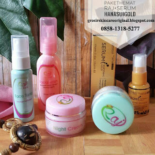 paket raj skincare plus serum gold hanasui