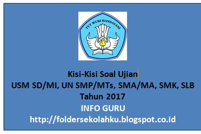Kisi-Kisi Soal Ujian USM SD/MI, UN SMP/MTs, SMA/MA, SMK, SLB Tahun 2017