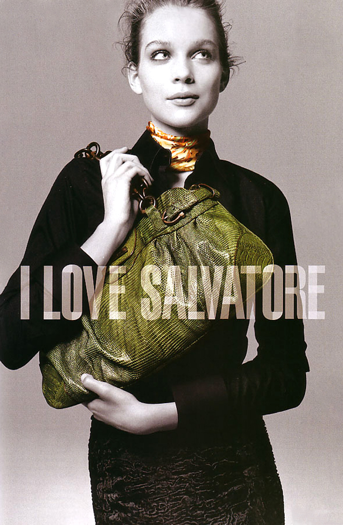 Kim Noorda photographed by Nicolas Moore for Salvatore Ferragamo Fall/Winter 2005 campaign