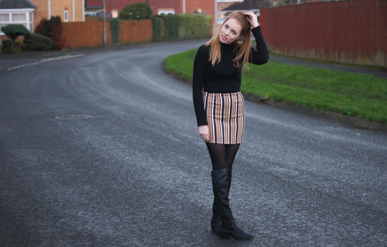 camel striped skirt
