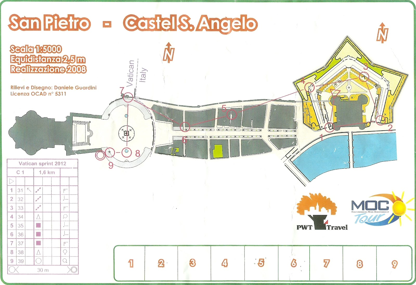 Orienteering map in Vatican City