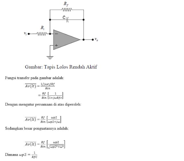 Laporan Praktikum Elektronika Dasar 2 - Tapis Lolos Rendah Aktif