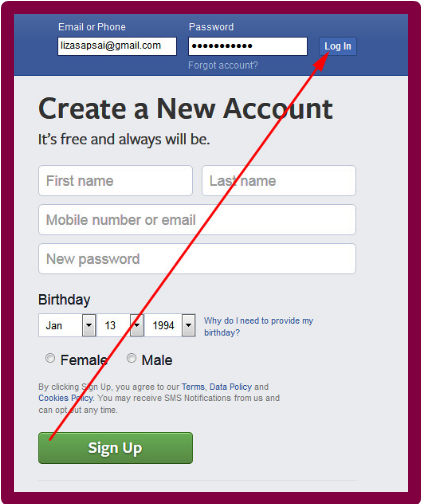 Welcome To Facebook Log In Sign Up