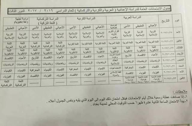 جدول أمتحانات الدور الثالث للصفوف المنتهية للعام الدراسي 2017/2016