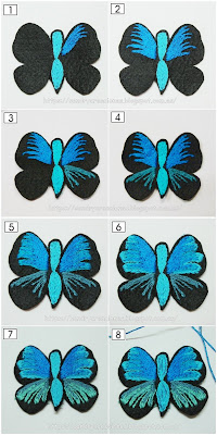 ocho pasos donde se muestra el proceso de bordado del broche mariposa azul