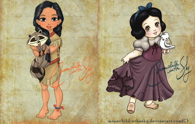Senhorita Meow Princesas da Disney como crianças. Ilustrações