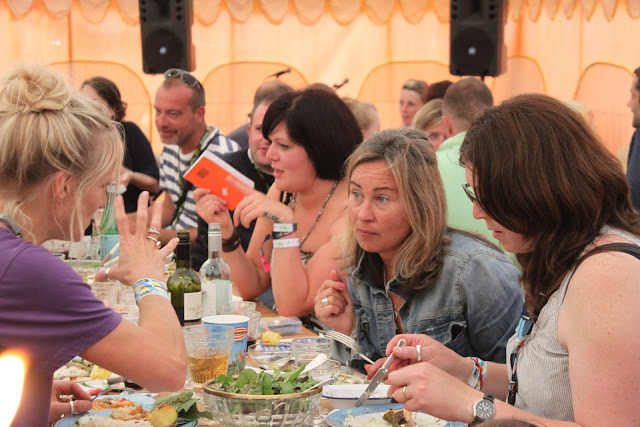 Jo Whiley and friends enjoying supper.
