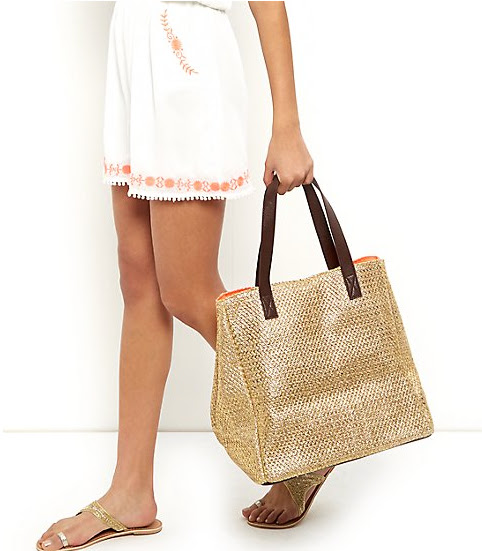New Look Gold Metallic Straw Beach Bag