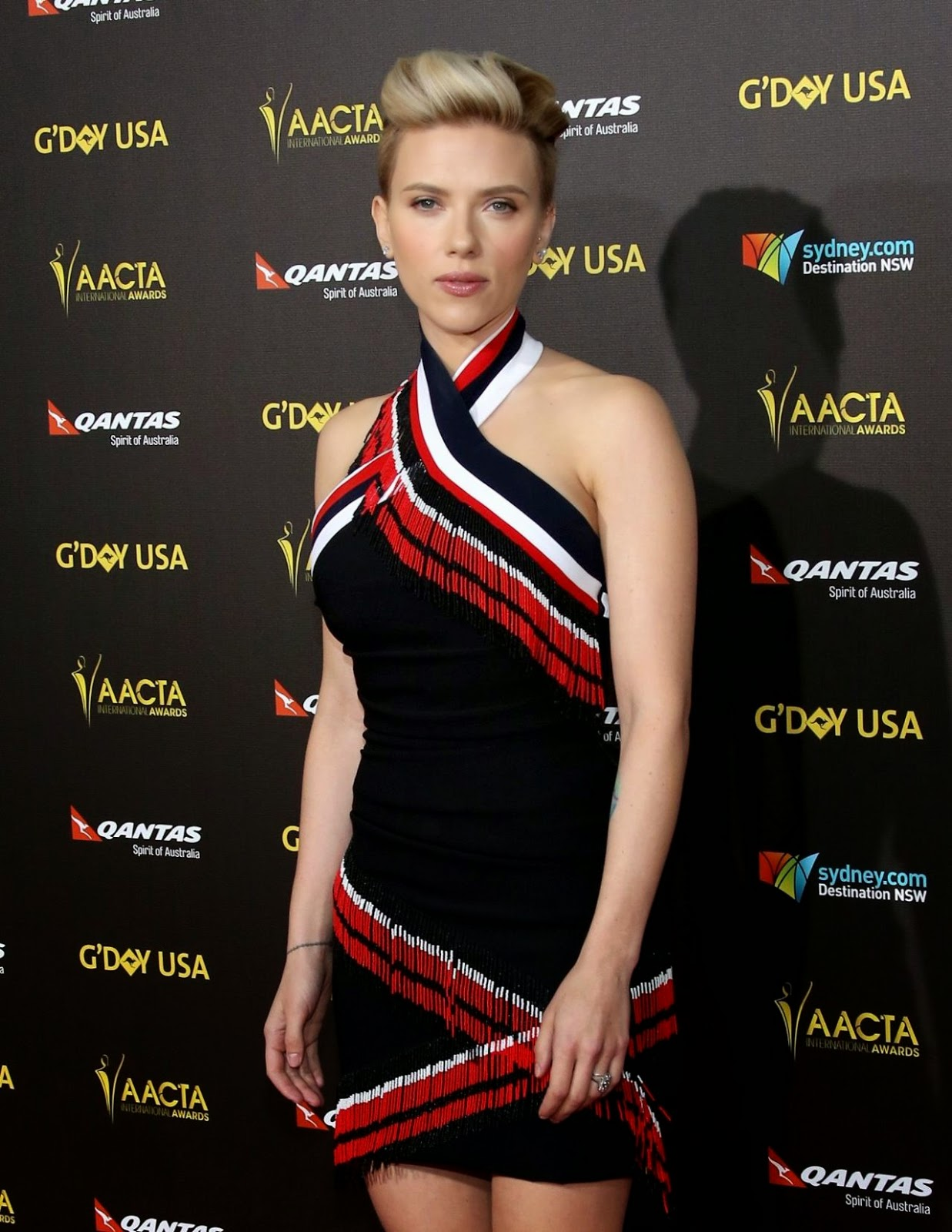 Scarlett Johansson in a figure hugging mini dress at the G'Day USA Gala 2015 AACTA International Awards in LA
