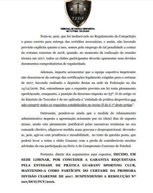 REVIRAVOLTA: Guarany de Sobral consegue liminar e está de volta à Série A do Cearense 2017