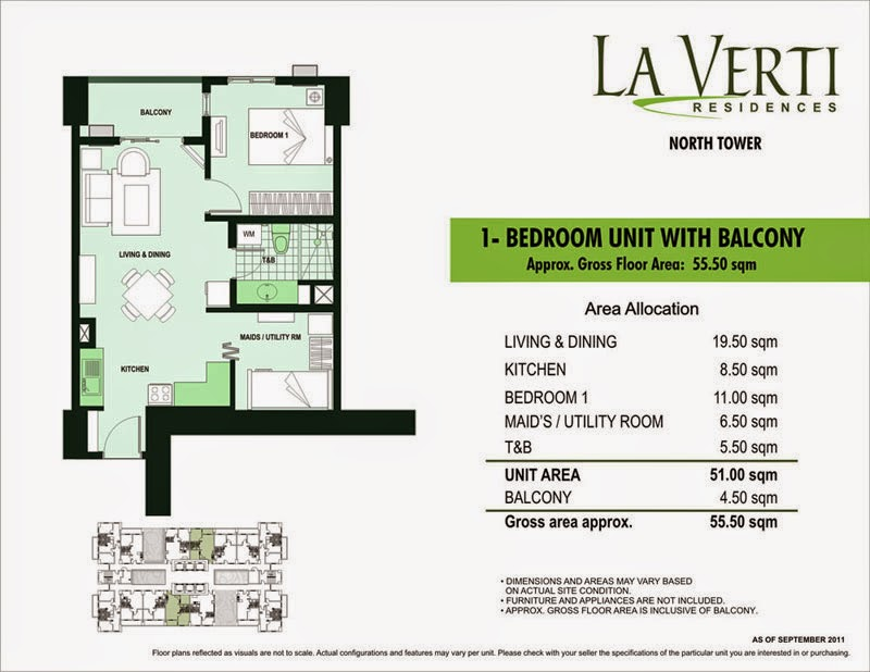 La Verti Residences 1-Bedroom Unit 55.50 sqm