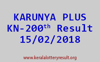 KARUNYA PLUS Lottery KN 200 Results 15-02-2018
