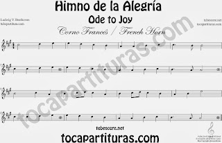 Partitura de para Trompa y Corno en Mi bemol 9º Sinfonía by Beethoven Sheet Music for French Horn Music Scores