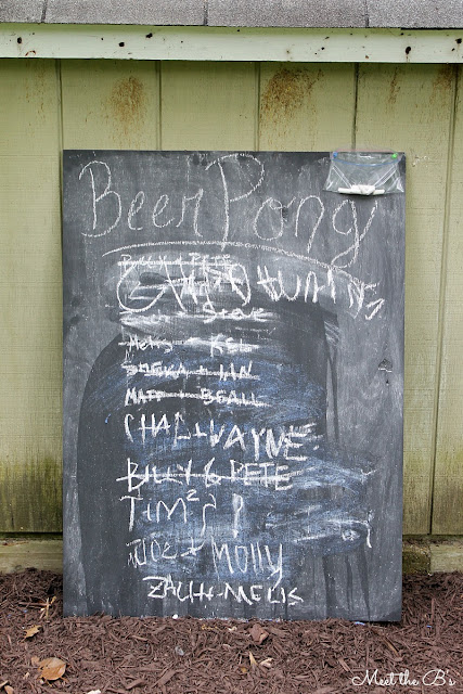 Chalkboard beer pong tournament sign